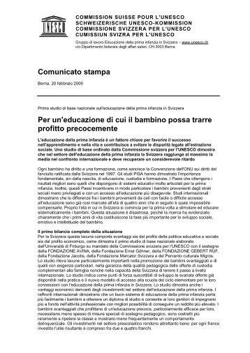 Comunicato stampa - Frühkindliche Bildung in der Schweiz