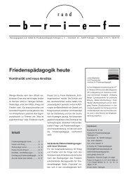 Friedenspädagogik heute - Institut für Friedenspädagogik Tübingen