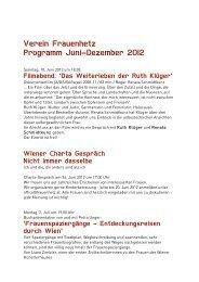 Verein Frauenhetz Programm Juni–Dezember 2012