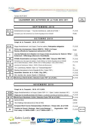 calendrier des activitees de la flns 2010 / 2011 septembre 2 0 1 0 ...