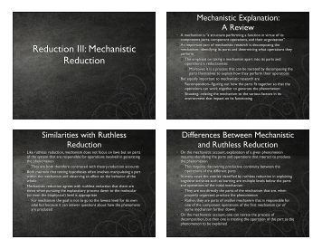 Reduction III: Mechanistic Reduction