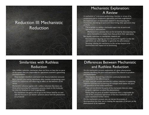 Reduction III: Mechanistic Reduction