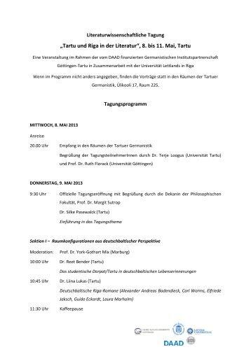 """""""Tartu und Riga in der Literatur"""", 8. bis 11. Mai, Tartu"""