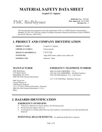 MATERIAL SAFETY DATA SHEET - FMC Corporation