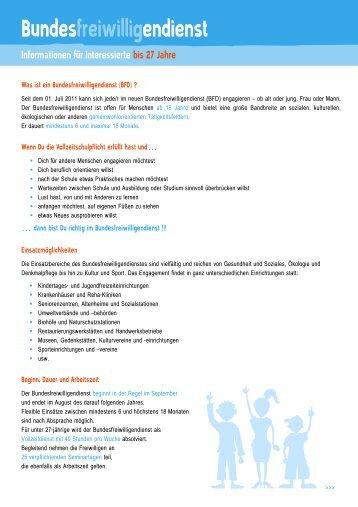 Merkblatt zum BFD für Menschen bis 27 Jahre - Freiwilligenagentur ...