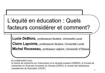 Documentation - Faculté des sciences de l'éducation - Université ...
