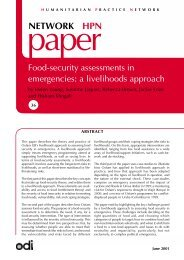 Food-security assessments in emergencies: a livelihoods approach