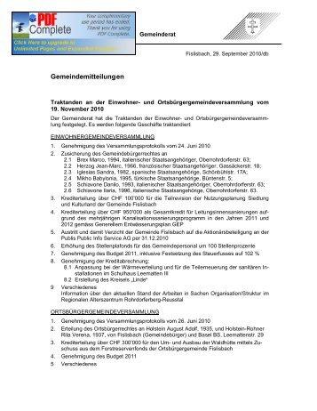 Gemeindeversammlung-Traktandenliste, Diverses aus der Gemeinde