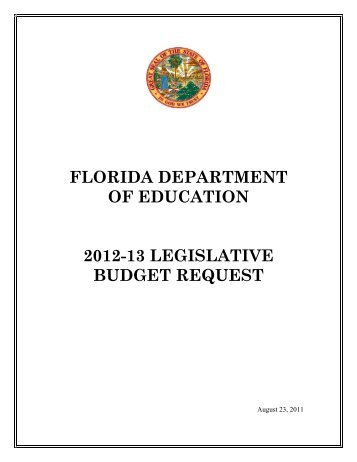 florida department of education 2012-13 legislative budget request