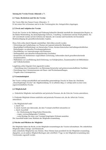 Satzung des Vereins Forum Allmende e. V. § 1 Name, Rechtsform ...