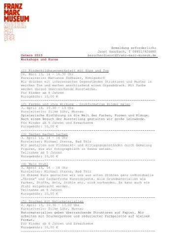 Janet Haarbach, T 08851/924880 Ostern 2013 besucherdienst ...