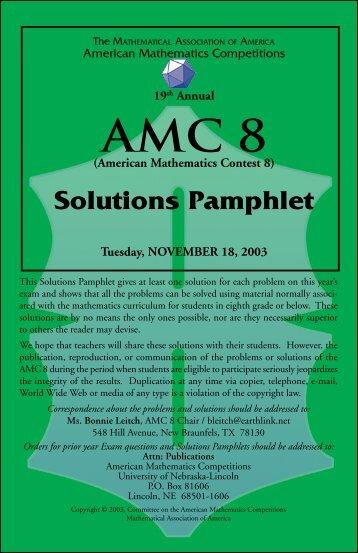 2003 AMC 8 Solutions
