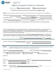 Appeal of Academic Probation or Dismissal