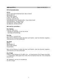 1 AGB von FIT-Z Stand: 04.06.2013 FIT-Z Kontaktcenter FIT-Z ist ein ...