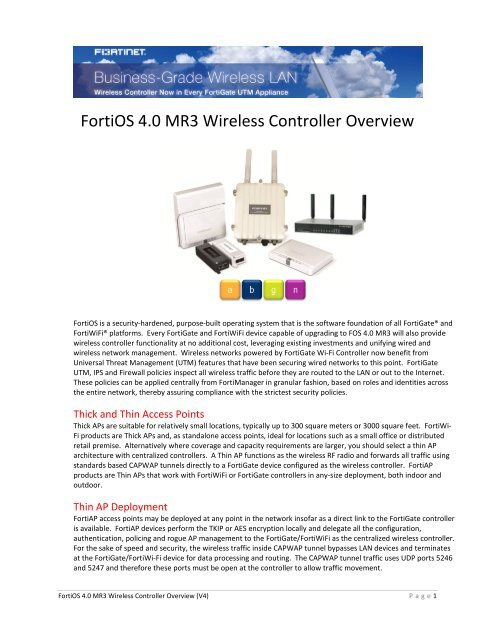 FortiOS 4 0 MR3 Wireless Controller Overview - Fortinet