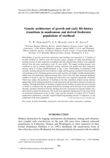 Genetic architecture of growth and early life-history transitions in ...