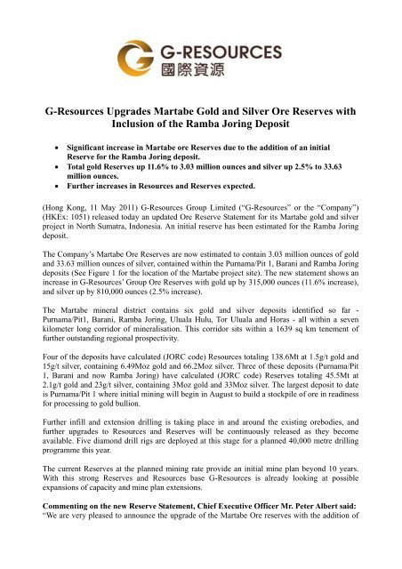 G-Resources Upgrades Martabe Gold and Silver Ore Reserves