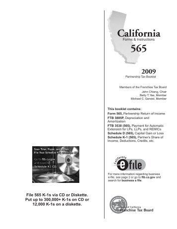 Schedule K 1 565 Instructions California Franchise Tax Board