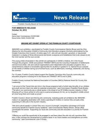 FOR IMMEDIATE RELEASE October 24, 2012 - Franklin County, Ohio