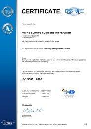 CERTIFICATE - Fuchs Europe Schmierstoffe GmbH