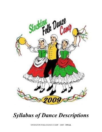 Syllabus of Dance Descriptions - Stockton Folk Dance Camp