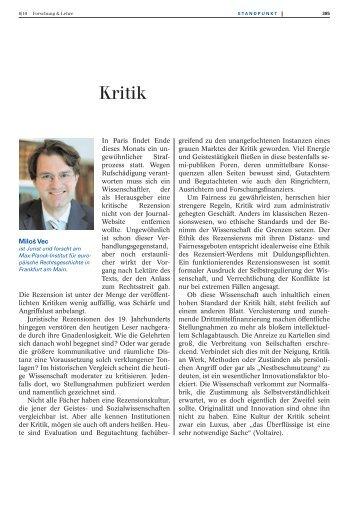 Kritik - Forschung & Lehre