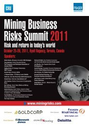 Mining Business Risks Summit 2011 - Fraser Institute