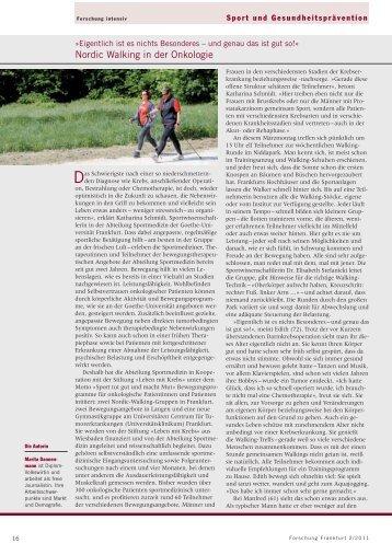 Nordic Walking in der Onkologie - Forschung Frankfurt - Goethe ...