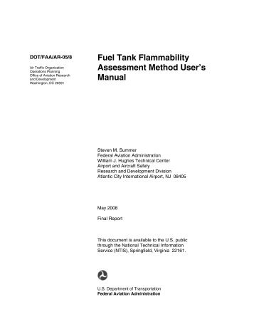 Fuel Tank Flammability Assessment Method User's Manual
