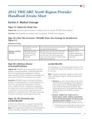 2012 TRICARE North Region Provider Handbook Errata Sheet