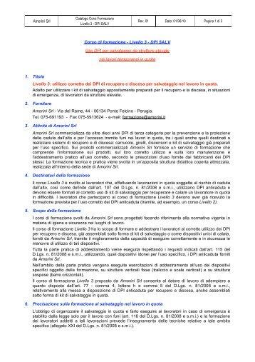 Amorini Srl Corso di formazione - Livello 3 - DPI SALV Uso DPI per ...