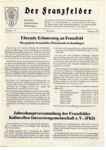 Ausgabe 7 hier herunterladen - Die Franzfelder