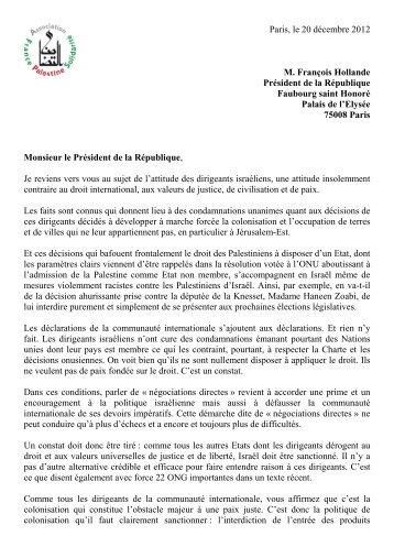 Francois Hollande 20 12 2012 - Association France Palestine ...