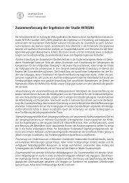 Zusammenfassung der Ergebnisse der Studie INTEGRU - Kanton Zürich