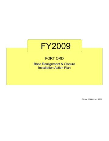 FY2009 - Former Fort Ord - Environmental Cleanup