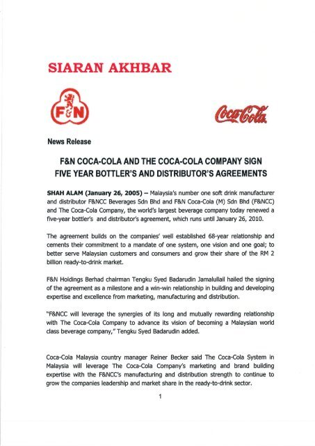 FNCC in Malaysia and The Coca-Cola Company sign Five Year