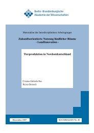Tierproduktion in Nordostdeutschland