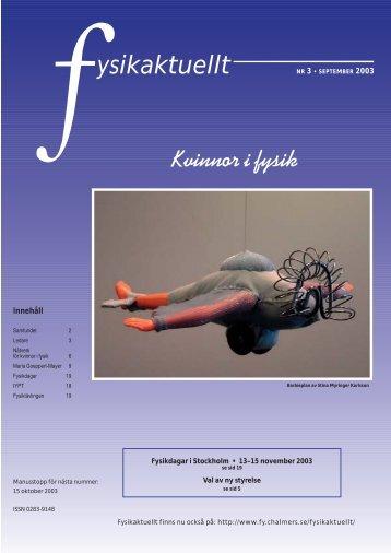 Fysikaktuellt September 2003, Kvinnor i fysik - Svenska ...