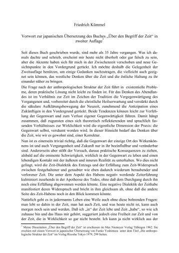Friedrich Kümmel Vorwort zur japanischen Übersetzung des Buches ...