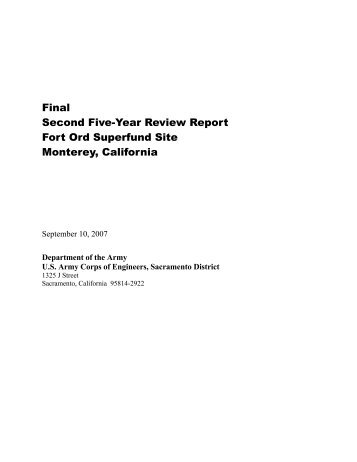 Final Second Five-Year Review Report Fort Ord Superfund Site ...