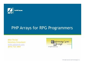 02-PHP Arrays for RPG Programmers.pdf - Gateway/400 Group