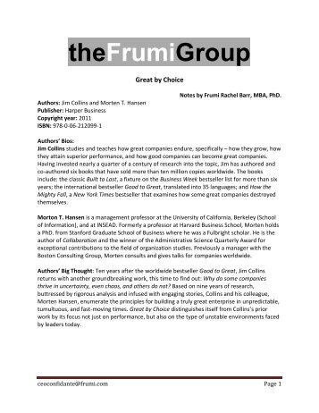 Great by Choice - Frumi Group