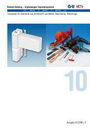 Türbänder für Elemente aus Kunststoff und Metall, Bauchemie - G-u.kz