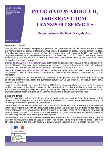 information about co emissions from transport services