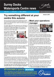 Surrey Docks Watersports Centre news - Fusion Lifestyle