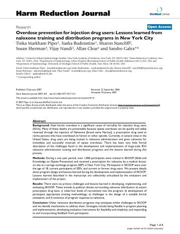Overdose prevention for injection drug users: Lessons learned from ...