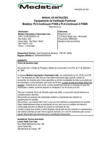 Equipamento de Ventilação Pulmonar Modelos: PLV-Continuum ...