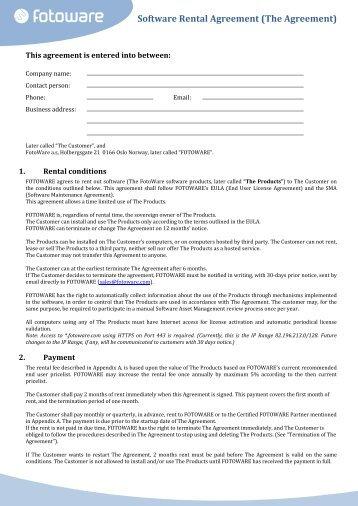 Software Rental Agreement (The Agreement) - FotoWare