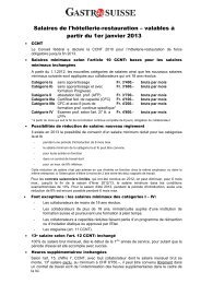 Salaires de l'hôtellerie-restauration 2013 - GastroSuisse