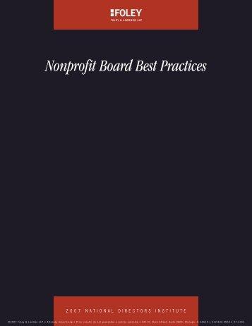 Nonprofit Board Best Practices - Foley & Lardner LLP